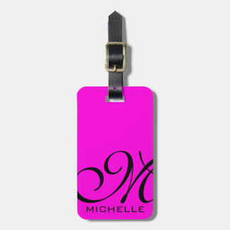 Black Script Monogrammed Pink Luggage Tag