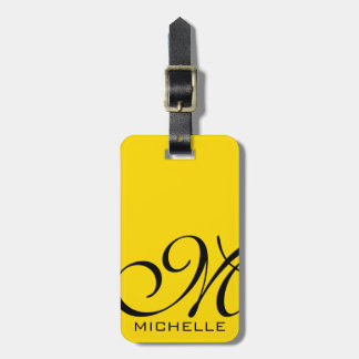 Black Script Monogrammed Yellow Luggage Tag