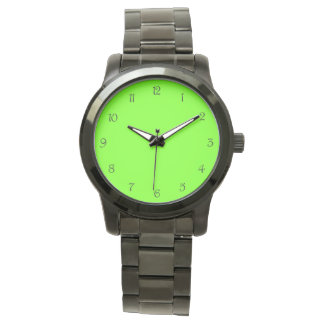 Black Script Numbers on Green Womens Watch