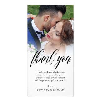 Black Script Overlay Wedding Photo Thank You Photo Card Template