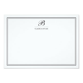 Black Script Wedding Monogram Stationery Cards