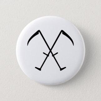 black scythe crossed icon 2 inch round button