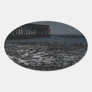 Black Sea Oval Sticker
