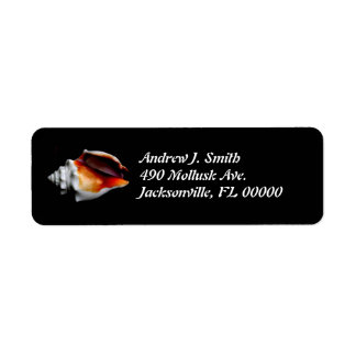 Black Seashell Return Address Labels
