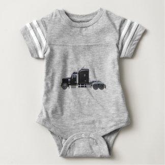 Black Semi Tractor Trailer in Side Profile Baby Bodysuit