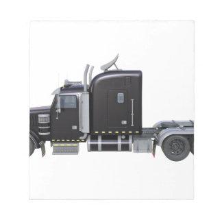Black Semi Tractor Trailer in Side Profile Notepad