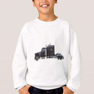 Black Semi Tractor Trailer in Side Profile Sweatshirt