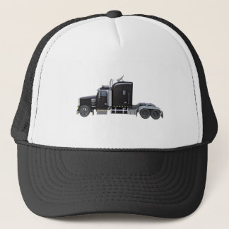 Black Semi Tractor Trailer in Side Profile Trucker Hat