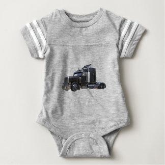 Black Semi Tractor Trailer Truck Baby Bodysuit