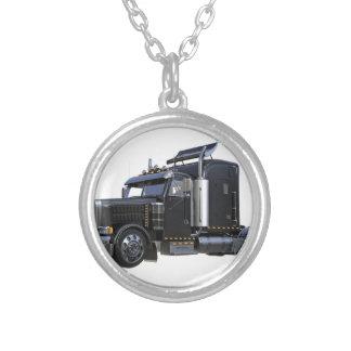 Black Semi Tractor Trailer Truck Silver Plated Necklace