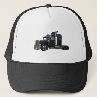 Black Semi Tractor Trailer Truck Trucker Hat