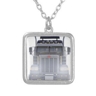 Black Semi Tractor Trailer Truck With Headlights Silver Plated Necklace