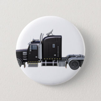 Black Semi Truck with Full Lights In Side View 2 Inch Round Button