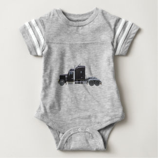 Black Semi Truck with Full Lights In Side View Baby Bodysuit