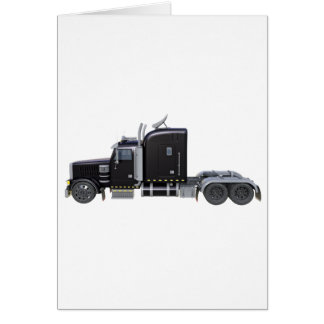 Black Semi Truck with Full Lights In Side View Card