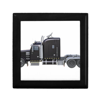 Black Semi Truck with Full Lights In Side View Gift Box