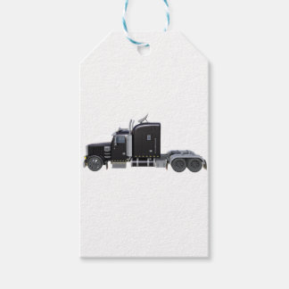 Black Semi Truck with Full Lights In Side View Gift Tags