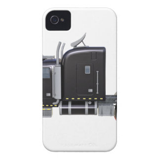 Black Semi Truck with Full Lights In Side View iPhone 4 Case-Mate Case