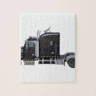 Black Semi Truck with Full Lights In Side View Jigsaw Puzzle
