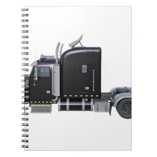Black Semi Truck with Full Lights In Side View Notebooks