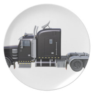 Black Semi Truck with Full Lights In Side View Plate