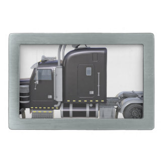 Black Semi Truck with Full Lights In Side View Rectangular Belt Buckle