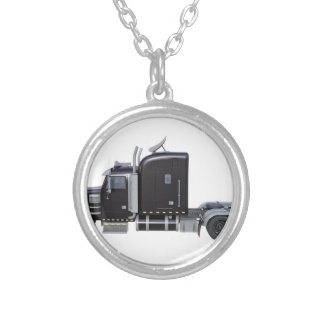 Black Semi Truck with Full Lights In Side View Silver Plated Necklace