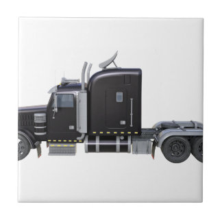 Black Semi Truck with Full Lights In Side View Tile