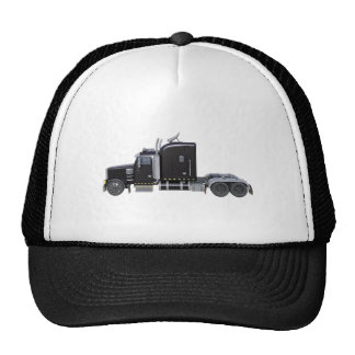 Black Semi Truck with Full Lights In Side View Trucker Hat