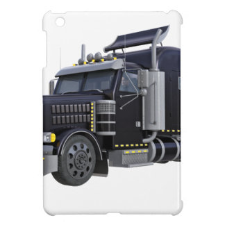 Black Semi Truck with Lights On in A Three Quarter Case For The iPad Mini