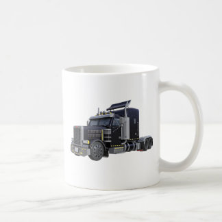 Black Semi Truck with Lights On in A Three Quarter Coffee Mug