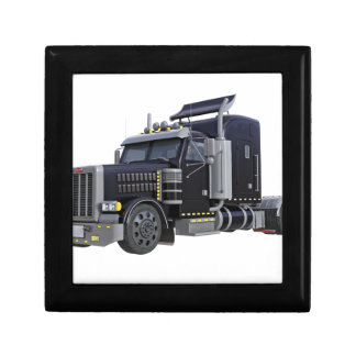 Black Semi Truck with Lights On in A Three Quarter Gift Box