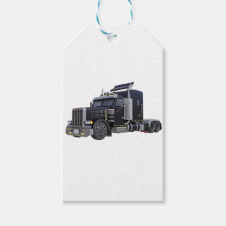 Black Semi Truck with Lights On in A Three Quarter Gift Tags