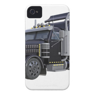 Black Semi Truck with Lights On in A Three Quarter iPhone 4 Case-Mate Case
