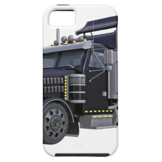 Black Semi Truck with Lights On in A Three Quarter iPhone 5 Covers