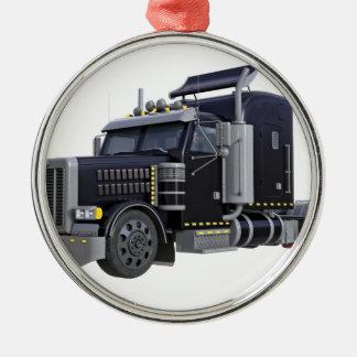Black Semi Truck with Lights On in A Three Quarter Metal Ornament