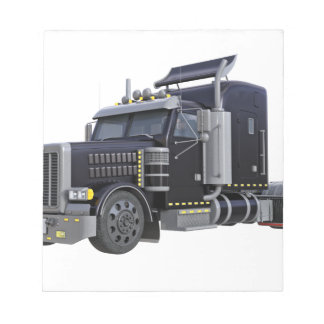 Black Semi Truck with Lights On in A Three Quarter Notepad