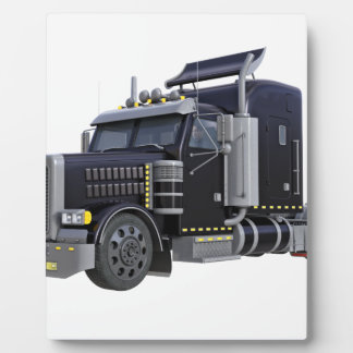 Black Semi Truck with Lights On in A Three Quarter Plaque