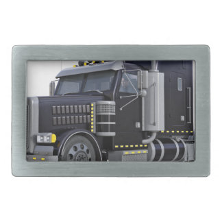 Black Semi Truck with Lights On in A Three Quarter Rectangular Belt Buckle