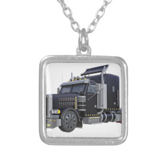 Black Semi Truck with Lights On in A Three Quarter Silver Plated Necklace