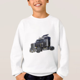 Black Semi Truck with Lights On in A Three Quarter Sweatshirt