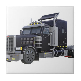 Black Semi Truck with Lights On in A Three Quarter Tile