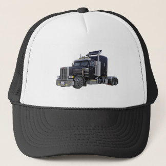 Black Semi Truck with Lights On in A Three Quarter Trucker Hat