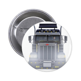 Black Semi Truck with Lights On in Front View 2 Inch Round Button