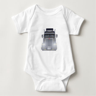 Black Semi Truck with Lights On in Front View Baby Bodysuit