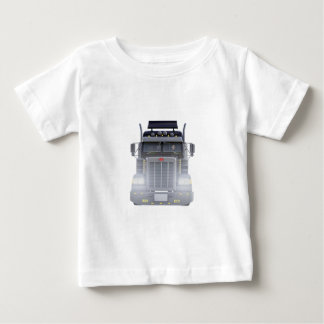 Black Semi Truck with Lights On in Front View Baby T-Shirt