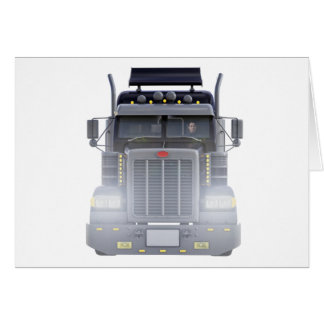 Black Semi Truck with Lights On in Front View Card