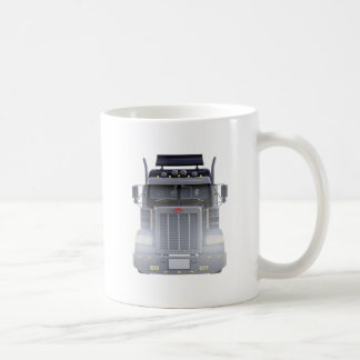 Black Semi Truck with Lights On in Front View Coffee Mug