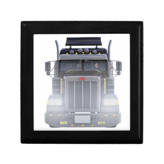 Black Semi Truck with Lights On in Front View Gift Box