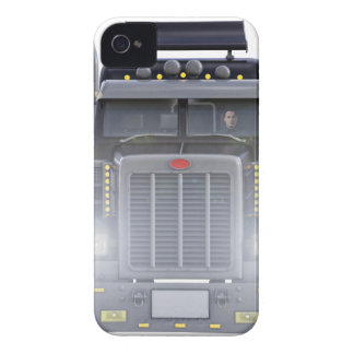 Black Semi Truck with Lights On in Front View iPhone 4 Case